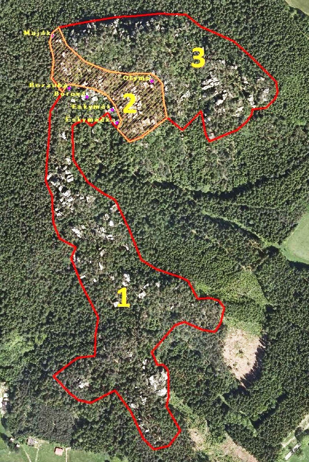 Křížový vrch mapa omezení CHKO Broumovsko