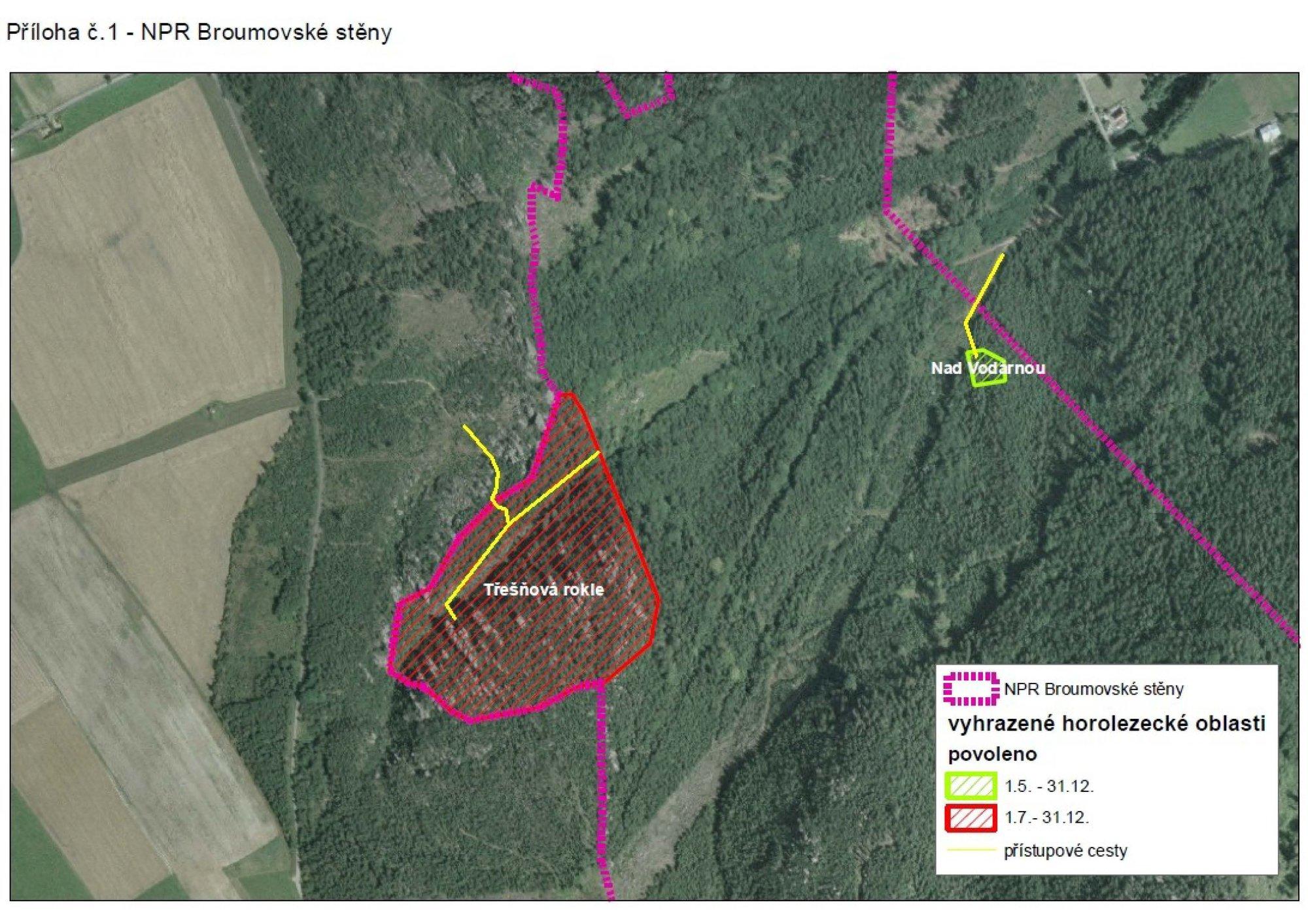 Broumovské stěny mapa omezení CHKO Broumovsko