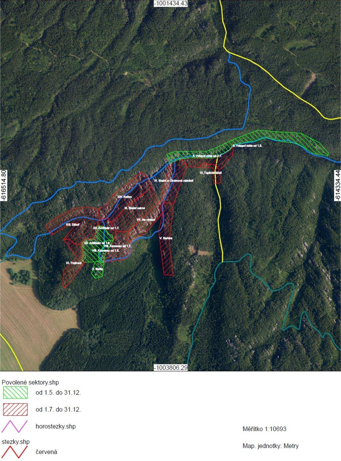 Teplické skály mapa omezení CHKO Broumovsko